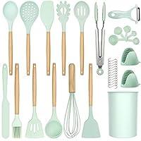 hamiis utensili cucina set, 34 pezzi set di utensili da cucina in silicone, strumento di cottura antiaderente resistente al calore con manico in legno, senza bpa, verde
