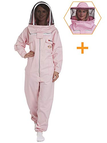Natural Apiary Max Beekeeping Suit Outfit 2 x Non-Flammable Fencing Veil Mesh (Round & Fencing) Professional Bee Keeper Protection, X Large, Pink