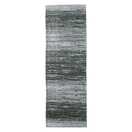 AMIDA Runner Rug for Hallway Washable Non Skid 2.3'x8.9' Grey Charcoal - Contemporary Abstract Stripe - Flat Weave - Non Shedding - Dog Friendly Easy Care - 9 Kitchen Runner Indoor Floor