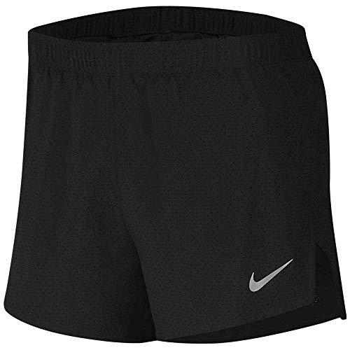 Nike Fast Pantaloncini da Corsa, Nero/Argento Riflettente, XL Uomo