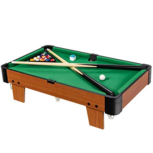 Goplus Mini Pool Table, 24-Inch Portable Billiards Game Table with 16 Balls, 2 Cues, 1 Chalk and 1 Triangle, Indoor Tabletop Pool Set, Perfect for Family Game Rooms and Parties