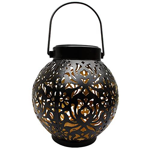 Farol solar para exterior, luces colgantes de metal, luz decorativa para jardín