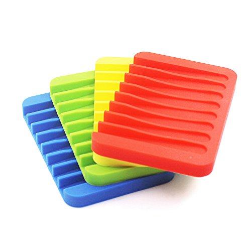 Senhai 4 Stück Silikon Wasserfall Seifenschale Halter Bunte Seifenschale Abtropfgestell für Dusche Bad Küche – Rot, Grün, Gelb, Blau