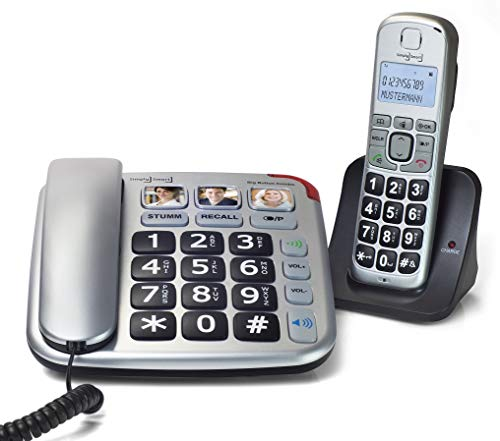 Simply Smart Big Button Combo, schnurgebundenes Seniorentelefon mit Zusatz-Set