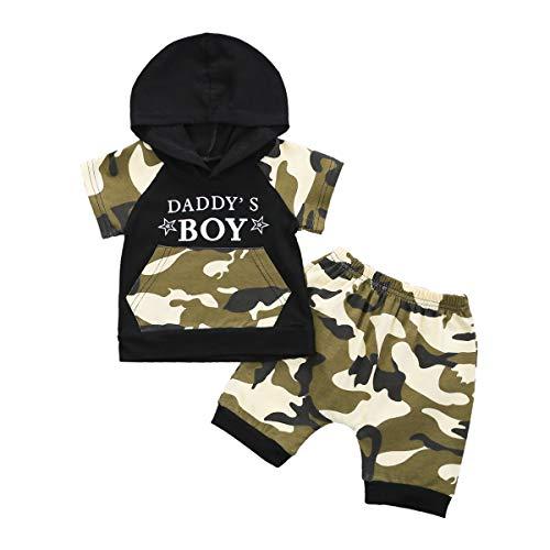 Neugeborene Jungen Jungen Tarnanzug Kapuzenoberteile T-Shirt mit Buchstabenmuster + Shorts Hosen Sommer Outfits Kleidung Set (Camo, 18-24M)