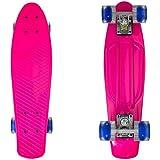 MRG LEDライト内臓 スケートボード 22インチ ミニクルーザー コンプリートセット ABEC9ベアリング採用 (ピンク×ブルー)