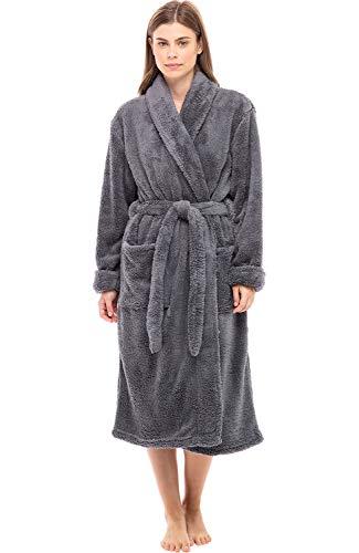 Alexander Del Rossa Women's Plush Fleece Robe, Warm Shaggy Bathrobe, Small-Medium Steel Gray (A0302STLMD)