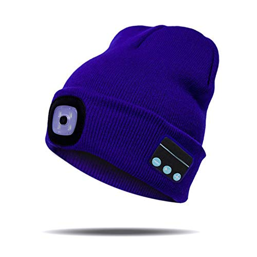shadiao Gorro de lana con Bluetooth y luz LED, recargable, inalámbrico, con Bluetooth