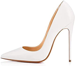 Elisabet Tang Women Pumps, Pointed Toe High Heel 4.7 inch/12cm Party Stiletto Heels Shoes Matte White Size: 5