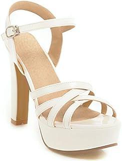 d2010cd3 AOOEL Mujer Elegante Sandalias Peep toe Tacon alto Tacon Cuadrado Plataforma  Boda Zapatos de tacon