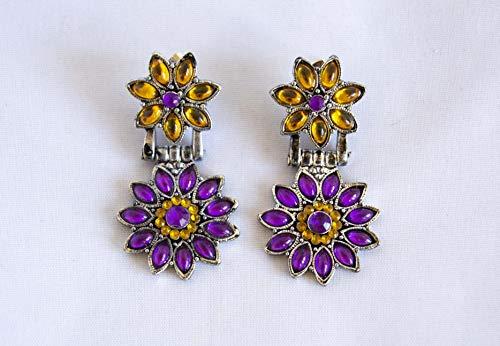 Pendientes largos 4,5cm con flores de piedra morada y ambar. Envío GRATIS 72h