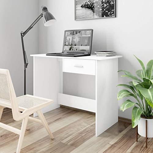 LucaSng Schreibtisch Workstations Computertische mit Schubladen,Konsolentisch Moderne,Möbel für Büros und Arbeitszimmer,Weiß 100×50×76 cm Spanplatte