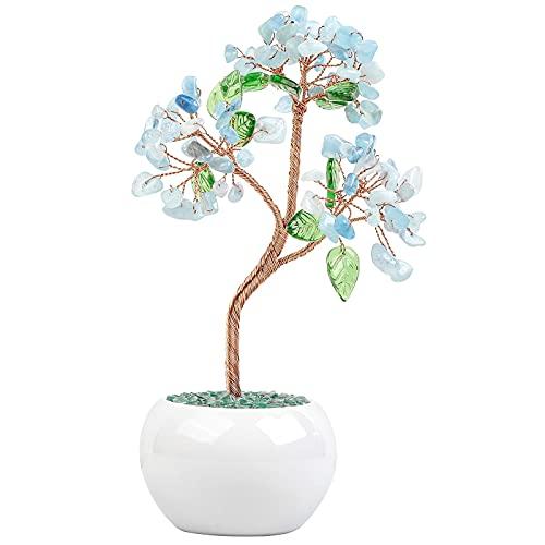 KYEYGWO �rbol de cristal aguamarina curativo Reiki sobre piedras preciosas jarrón de...