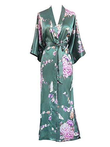 Old Shanghai Women's Kimono Long Robe - Chrysanthemum & Crane - Jade