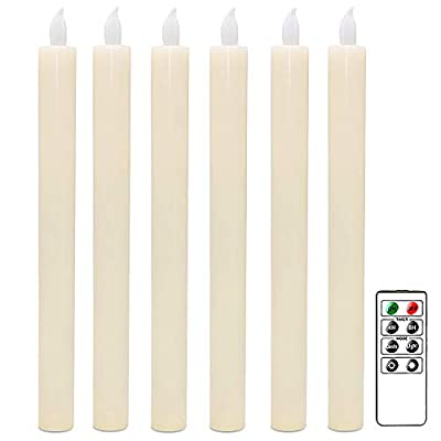 DRomance Flamless Flickering Taper Candles Battery Operated with Remote and Timer