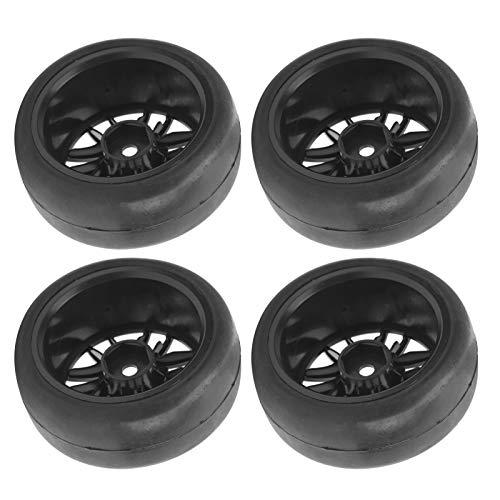 FOLOSAFENAR Accesorios RC Neumáticos Slicks 65mm Dia Fit Hub Ruedas Llantas Neumáticos Conducción Flexible 4 Piezas, para Camiones WPL D12 1/10 RC