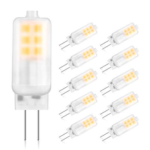 G4 LED Lampen, GLIME 10x LED Leuchtmittel 3W 250lm Glühbirne Ersatz für 30W Halogenlampen 3000K Warmweiß LED Birnen 12V AC/DC 360°Abstrahlwinkel Kein Flackern Nicht Dimmbar Energiesparlampe