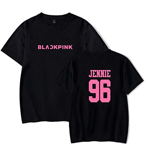 Flyself Unisex KPOP Pareja Blackpink Fans Camiseta Manga Corta Casual Impresión Hip Pop Tops Tees Shirt Rose Lisa Jisoo Jennie