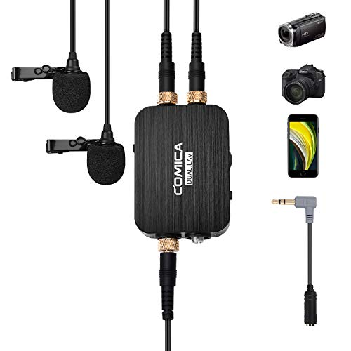 Comica CVM-D03 Dual Lavalier Lapel Microphone with Mono/Stereo Sound, Volume adjustment, Real-time monitoring, Portable Clip-on mic for Cameras Camcorders& Smartphones and more (3.5mm jack)