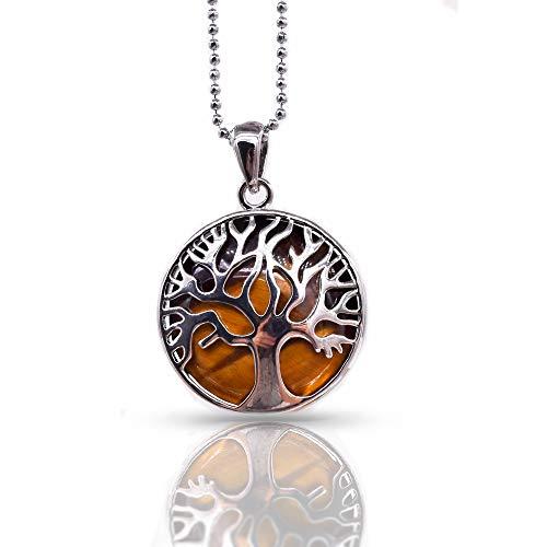 Collier Reiki avec pendentif arbre de vie en argent et pierre œil de tigre - cristaux de guérison, pierres à chakra