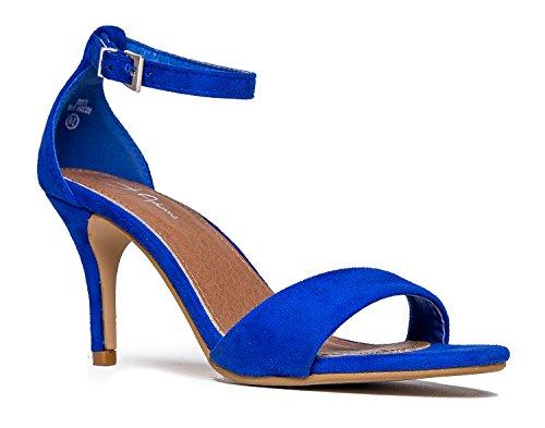 J. Adams Low Ankle Strap Work Heel, Blue Suede, 11 B(M) US