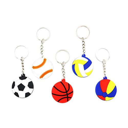 Amosfun 24 Stücke Fußball Schlüsselanhänger Lustige Rugby Basketball Anhänger Kinder Schlüsselband Taschenanhänger Schlüsselring Geschenk für Auto Damen Herren