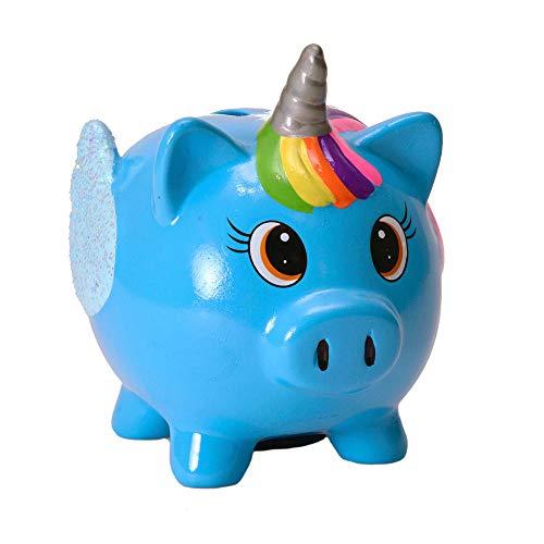 trendaffe Mini Schwein Einhorn Spardose in blau - Mini Schweinhorn Sparschwein Sparbüchse