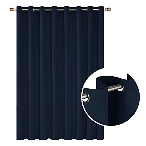 Deconovo Solid Color Thermal Insulated Wide Width Curtains Blackout Curtains Grommet Room Darkening Curtains for Dinning Room 100 x 84 Inch Navy Blue 1 Drape