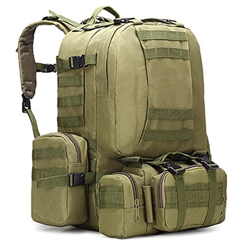 OUTEW Mochila Camouflage 50l 4 en 1 Hombre Bolsa de Cintura para Caza al Aire Libre Mochila Crossfit Mochila Hombre Deportiva Mochilas Campamento,Green,50L