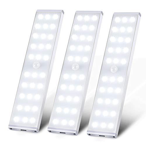 LED Closet Lights, KSQ 30 LED Super Bright Motion Sensor Closet Light, Full Screen Illumination& Rechargeable Cabinet LED Lighting, Under Cabinet Lights for Kitchen Wardrobe Stairs Hallway-3Pack