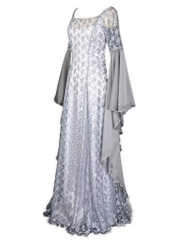 LY-VV Women Renaissance Medieval Costume Victorian Retro Gown Floor Length Dress