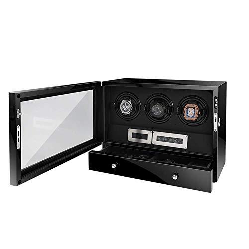 Sunmong Enrollador de Reloj con cajón de Almacenamiento, retroiluminación LED y Control Remoto, Almohada Suave Ajustable, 3 Cajas de Almacenamiento automático para Relojes