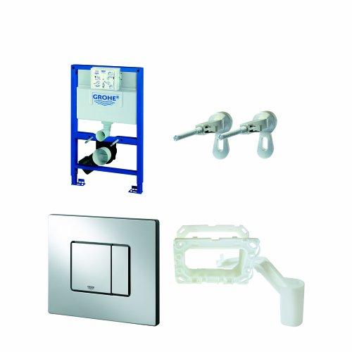 Grohe Rapid SL Set 3in1 voor wandtoilet: Villeroy & Boch wand-WC + Grohe WC-geluidsisolatie set + Grohe Fresh Retro-Fit Set Rapid SL+ WC-Anlag + Wandplatte + Fresh