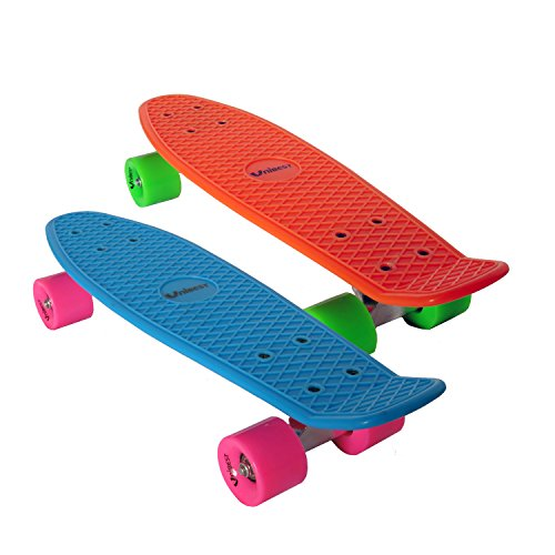 Unibest Skateboard Mini Cruiser Board Rollbrett Retro-Board 55x14cm 2er Pack (blau+orange)