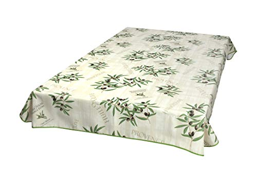 Provencetischdecke Huile d'Olive 200x148 cm, Natur-Beige, Outdoordecke Enduit Lotuseffekt
