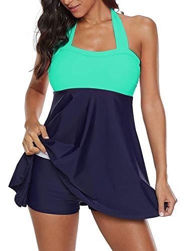 ALICECOCO Damen Pin-Up Bikini Sets Neckholder Einteilige Bademode mit integriertem Rock(FBA) (EU 38--40 ( XL ), Grün)