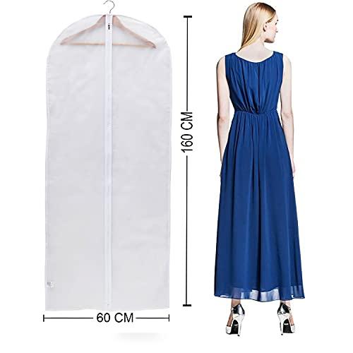Niviy 6 Pcs Fundas Transparentes para Ropa de 60 x 160 cm Tejido Transpirable de Alta Calidad para Almacenamiento de Vestidos, Abrigos, Vestidos de Novia, Vestidos de Noche, Vestidos Caros