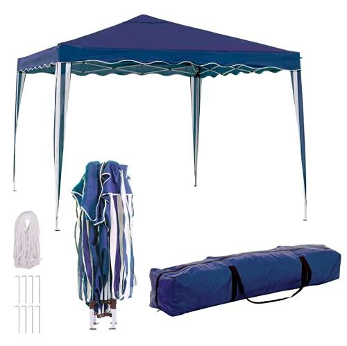 TIENDA EURASIA Cenador Plegable con Ventilación Superior de Acero de 300x300x250 cm - Bolsa de Transporte de Tela Incluida (Azul)