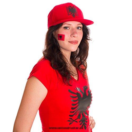 10 x Albanien Tattoo Fan Fahnen Set - Albania temporary tattoo Flag (10)