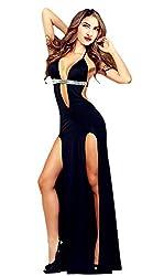 Black Halter Sequin Slit Long Lingerie Nightgowns