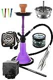 Kaya Neon SPN 480 - Set completo con calentador eléctrico para shisha, carbón, pinzas para carbón, boquillas desechables, inserto para chimenea, colador y piedras de vapor (morado)