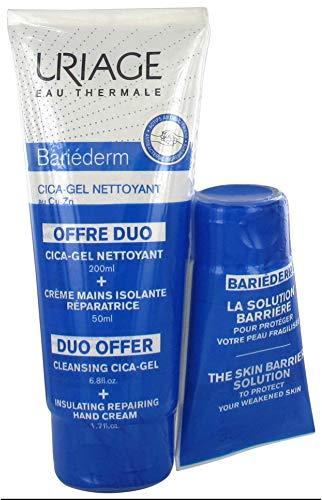 Uriage Bariéderm - Cica-Gel Detergente + Crema Mani Riparatrice, 200ml + 50ml