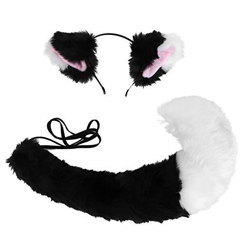 ABOOFAN Conjunto de Diadema Y Cola de Orejas de Zorro Cosplay de Zorro Accesorios de Disfraz de Zorro para Mujer Blanco