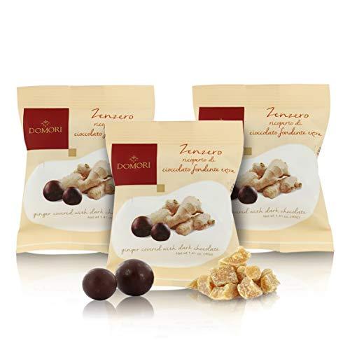Domori Esferas de Jengibre con Chocolate Negro - 40 Gramos (Paquete de 3 Piezas)