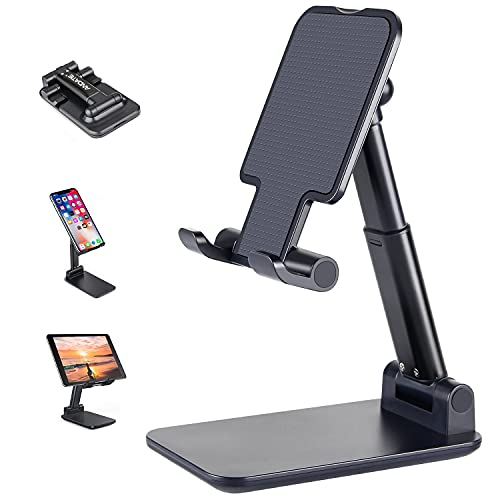 Suporte para celular, suporte de celular ajustável de altura de ângulo ANDATE para mesa, suporte para celular totalmente dobrável, suporte para tablet, compatível com todos os celulares/iPad/Kindle/tablet (preto)