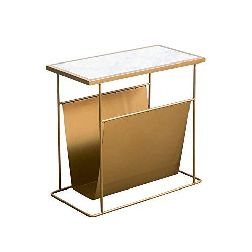 CHYSP Simple Moderna Multifuncional de 2 Niveles Lron Mesa de té Habitación Sala de Doble Capa Sofá Mesa Lateral del Soporte de exhibición