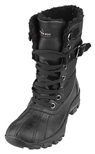 LONDON FOG Women's Milly Rain Boots (38, Black)