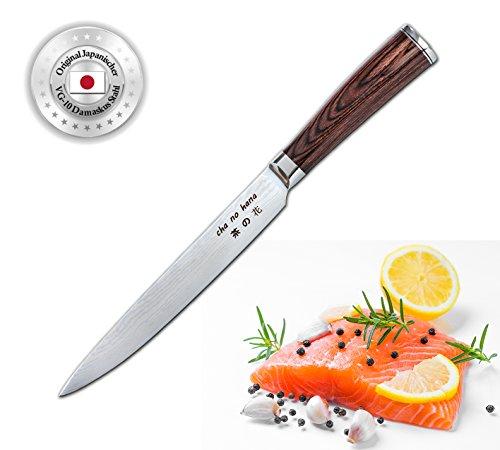 Cha No Hana Couteau Damast Sashimi en bois de pakkagriff, VG10 Lame en acier Damas 20 cm 67 couches, couteau à filet, couteau à poisson et viande, couteau de cuisine, couteau de chef, couteau à sushi