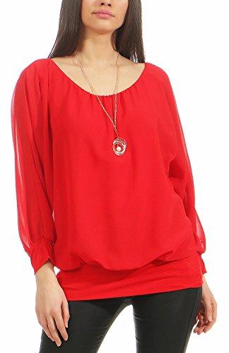 Malito Damen Bluse mit passender Kette   Tunika mit ¾ Armen   Blusenshirt mit breitem Bund   Elegant - Shirt 1133 (rot)