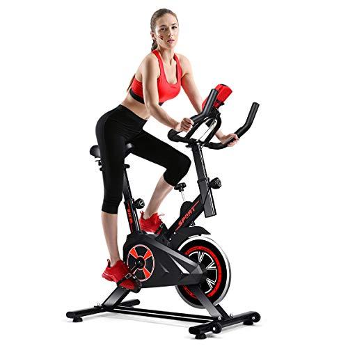 GOPLUS Adjustable Exercise Bike, Indoor Cycling Stationary Bike with Heart Rate Sensors, LCD Display, Silent Belt, 5-Position Adjustable Saddle for Home Cardio Gym Workout (Black)